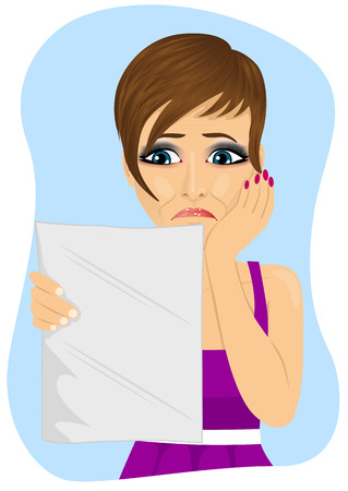 bad news: young unhappy woman reading a letter with bad news on blue background