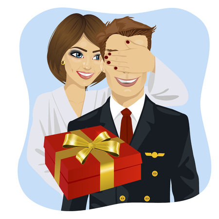 covering eyes: wife in white bathrobe covering her husbands eyes wearing airline pilot uniform standing behind him with gift on blue background Illustration