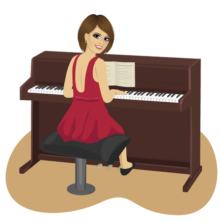 over the shoulder: back view of young woman playing brown upright piano looking over shoulder
