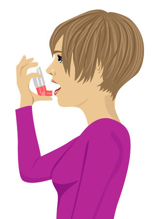 affliction: Young woman using an asthma inhaler isolated on white bakcground Illustration