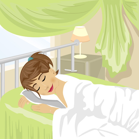 night table: Teenager girl sleeps at the bedroom with green curtain and lamp on a night table
