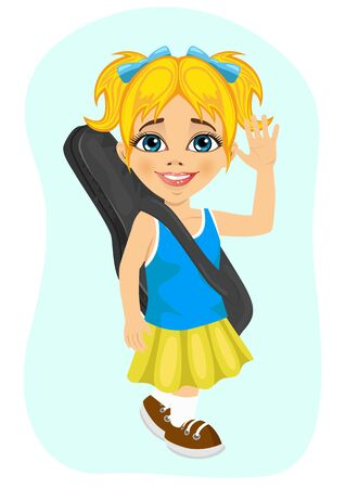 her: happy little girl walking with her guitar on white background Illustration