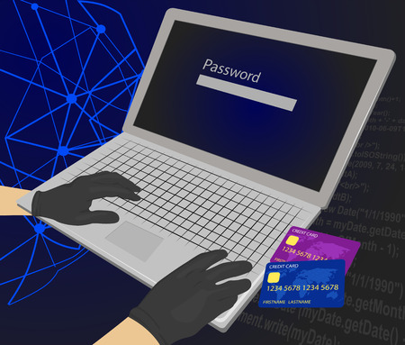 stolen data: Hacker trying to enter the password with credit cards next to his laptop using them for unauthorized shopping. Theft Concept Illustration