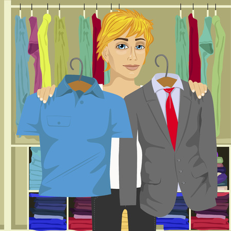choosing: Young thinking man choosing between business suit and blue shirt from his wardrobe