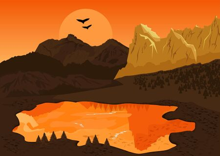 lake sunset: beautiful natural summer landscape with mountain lake and silhouette of the birds at sunset Illustration