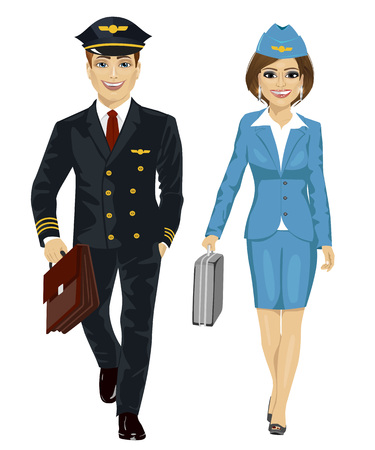hostess: Handsome man wearing airline pilot uniform and air hostess walking with flight cases on white background on white background