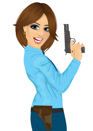 handcuffs woman: Attractive police woman holding a handgun on white background