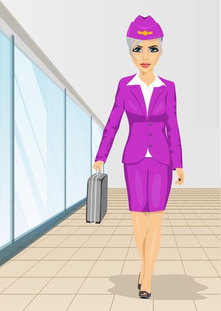 Air hostess walking with flight case isolated over white background Illustration