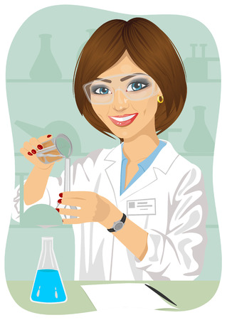 researcher: Female researcher mixes solutions in test tubes wearing protective glasses in laboratory Illustration