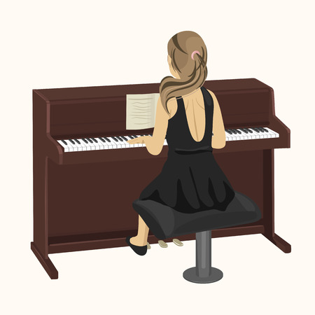 upright piano: back view of young woman playing brown upright piano on white background