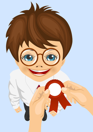 somebody: somebody pins award ribbon to chest of schoolboy won school competitions standing on blue background