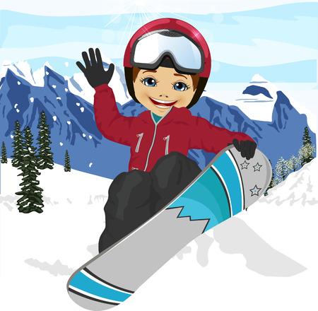 ski resort: happy cute little boy jumping with snowboard at ski resort