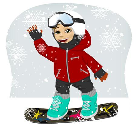 winter vacation: little cute male snowboarder at ski resort waving