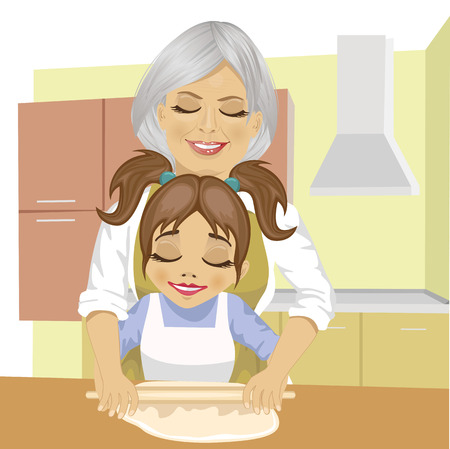 kneading: grandmother teaching granddaughter how to roll out the dough to cook a pizza in kitchen