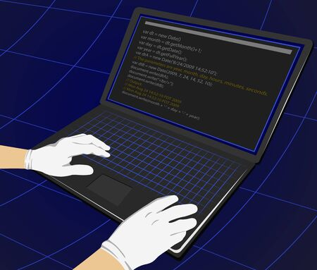 theft: Hacker writing programming code on laptop for unauthorized payments. Theft Concept Illustration