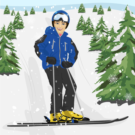 ski slope: Young man skier standing on a snowy ski slope with trees Illustration