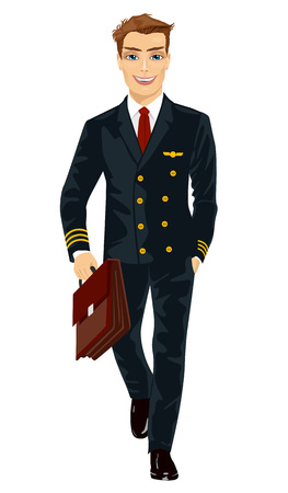 handsome young man: Handsome young man wearing airline pilot uniform walking with flight case isolated on white background Illustration