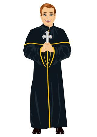 sotana: sacerdote cristiano joven con sotana sosteniendo una cruz sobre fondo blanco