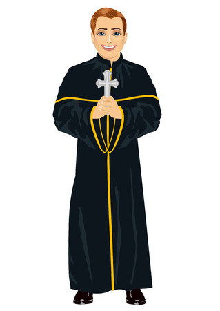 sotana: Young christian priest in cassock holding a cross on white background