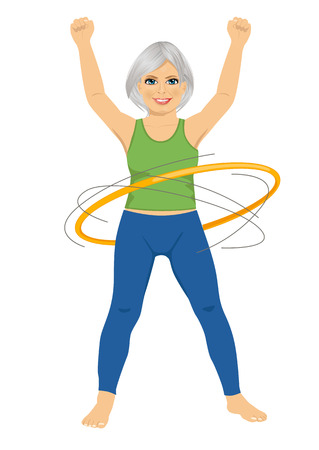 senior lady doing gymnastic with hula-hoop on white background