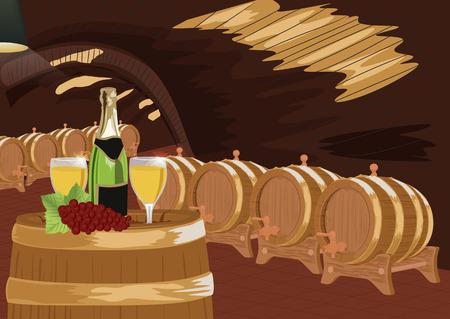 Weinkeller mit einer Flasche Champagner, zwei Gläser und Trauben auf einem Holzfass