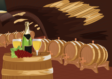 Wine cellar with bottle of champagne, two glasses and grapes on a wooden barrel