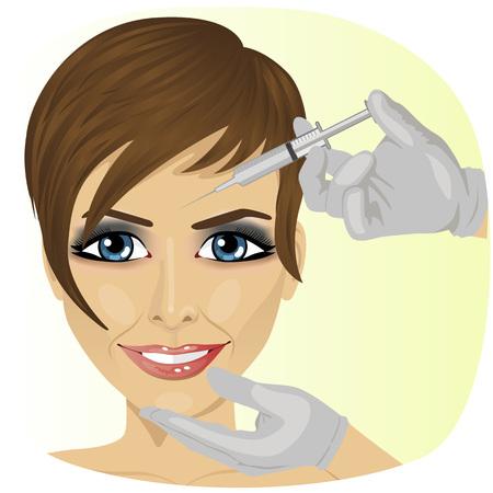 Zbliżenie kobieta o Botox w klinice piękności Ilustracje wektorowe