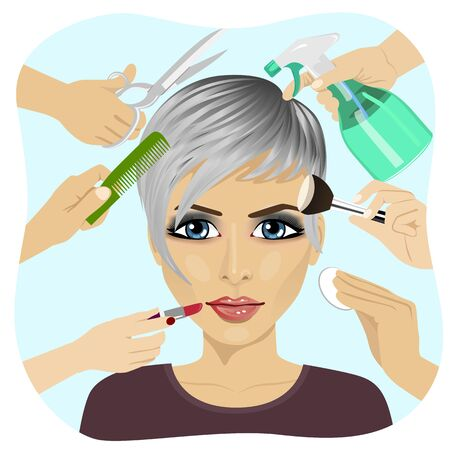 making face: Female face and many hands making different beauty salon services. Design for beauty salons and beauty industry Illustration
