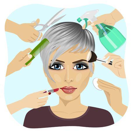 Cara femenina, y muchas manos que hacen los diferentes servicios de salón de belleza. Diseño de salones de belleza y de la industria de la belleza