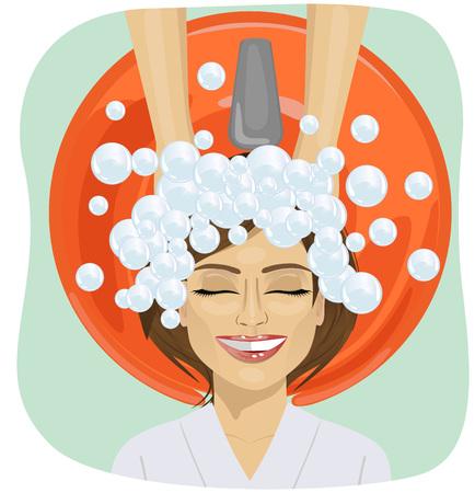 woman washing face: hair washing at a hairdressing salon, young girl Illustration