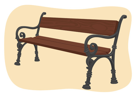 park bench: Wooden park bench isolated on brown background Illustration