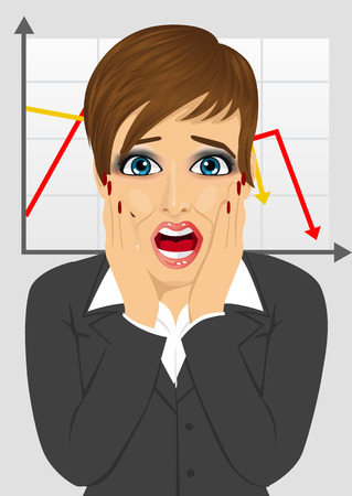 economic crisis: young businesswoman looks stressful shouting while holding her head over line graph showing negative trend in economic crisis