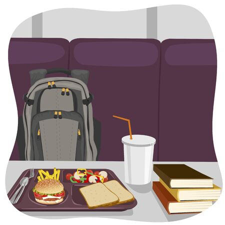 lunch tray: illustration of school lunch tray with stack of books on table and backpack Illustration