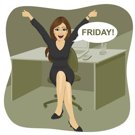 happy employees: happy successful woman sitting in chair in the office and raising hands up with bubble speech with friday text message