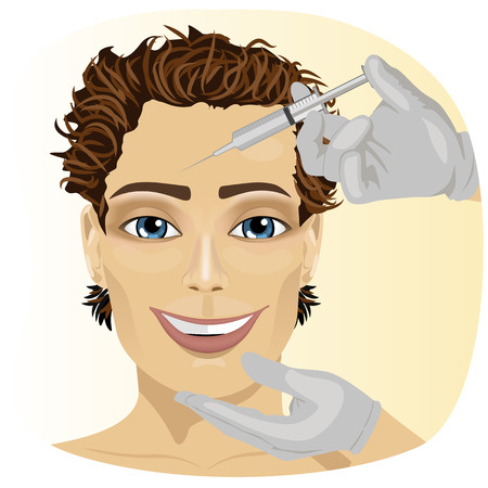 face surgery: Attractive young man at plastic surgery with syringe in his face Illustration