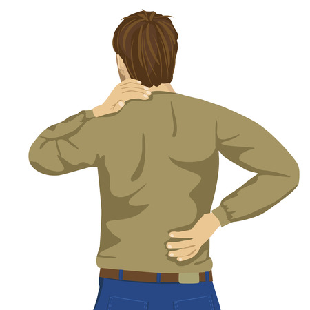 man back pain: Young man rubbing his painful back. Pain relief, chiropractic concept on white background Illustration
