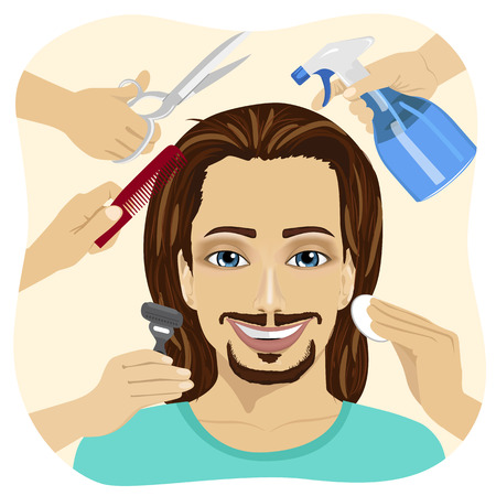 making face: Male face and many hands making different beauty salon services. Design for beauty salons and beauty industry