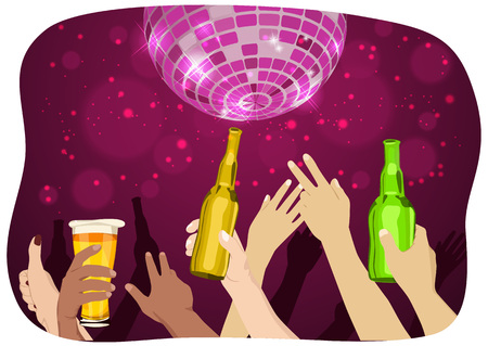 many hands: many hands raised up holding bottles and mugs of beer at the party with disco ball