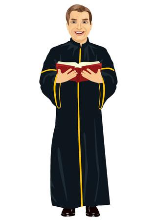 sotana: sacerdote cristiano maduro en sotana que sostiene una biblia santa en el fondo blanco Vectores