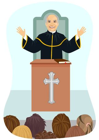 sermon: Senior protestant priest gives his sermon from the church pulpit Illustration