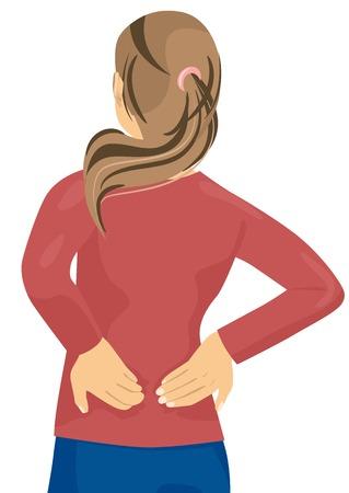 Vrouw met pijn in haar rug - rugletsel Vector Illustratie