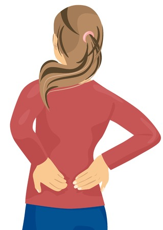 Woman having pain in her back - back injury