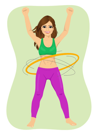 hulahoop: Young woman doing exercise with a hula-hoop. Fitness woman isolated on green background