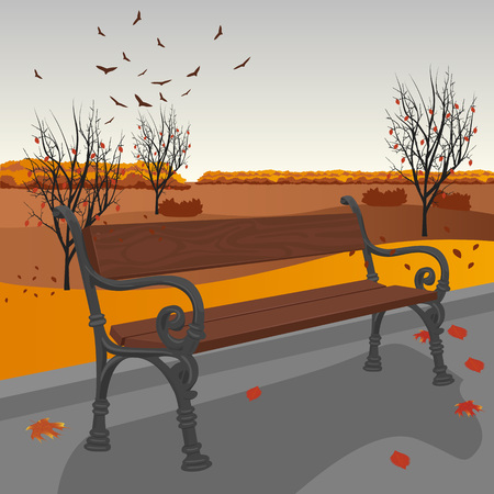 outdoor seating: Empty wooden bench in the city park in autumn
