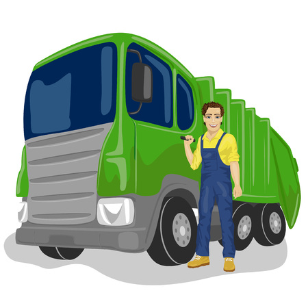 collector: Portrait of municipal worker next to recycling garbage collector truck loading waste and trash bin