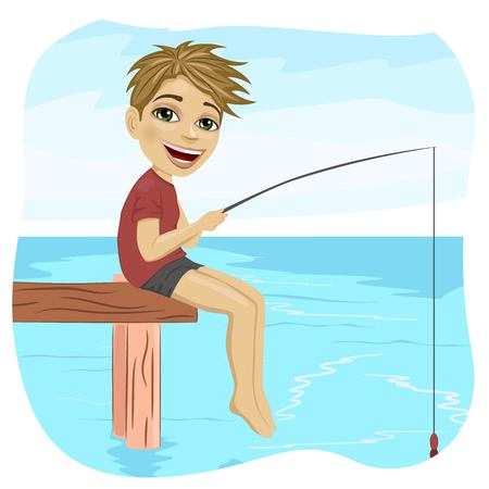 pontoon: Little smiling boy fishing on the lake sitting on a wood pontoon in the morning Illustration