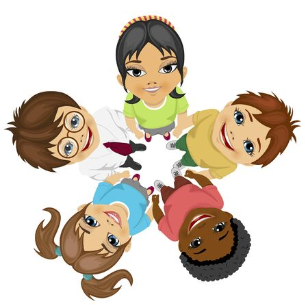 hands in: Group of multiracial kids in a circle looking up holding their hands together on white background