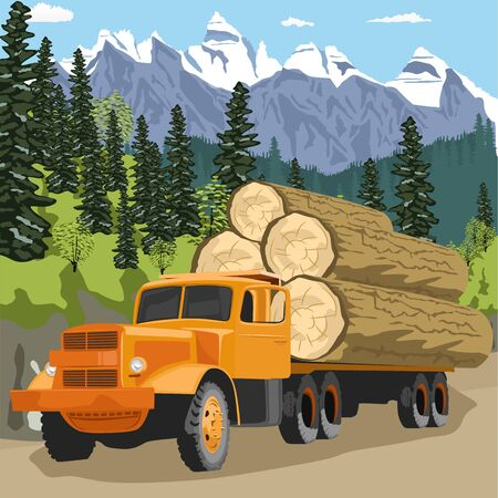 logging: heavy loaded logging truck in forest in the mountains Illustration