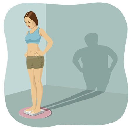 body image: Young woman standing on the bathroom scale with her shadow shows her distorted body image