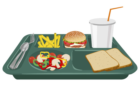 lunch tray: A school lunch tray on a white background with copy space Illustration